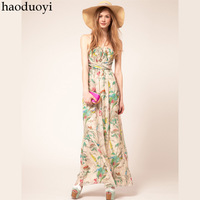 HOT SALE! Haoduoyi fashion pleated tube top elegant flower print chiffon high waist full dress one-piece  Free shipping