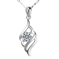 Free Shipping 925 pure silver necklace cubic zircon pendant pure silver women's necklace silver jewelry