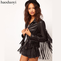 Hot Sale! Symmetrical Prothorax 2013 New Tassel Black Leather Clothing Pu Clothing 6 Full  Free Shipping