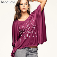 HOT SALE! Haoduoyi white light purple letter print batwing shirt mercerized cotton loose t-shirt  Free shipping