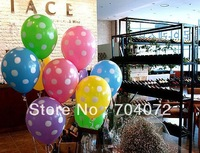 Free Shipping Wholesale 9 colors High quality Balloons. Polka Dots  Wedding, Birthday and Party Decoration 100pcslot