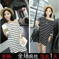 Mushroom women's fashion street 2013 7 stripe strapless sleeve length loose t-shirt female