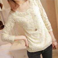 Free Shipping,2013 fashion elegant slim lace long-sleeve T-shirt,women clothing,fashion tops