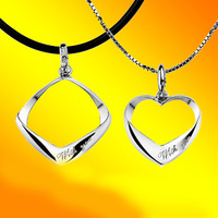 Free Shipping Accessories lovers accessories silver platinum lovers necklace Women Men necklace