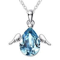 Free Shipping For nec  klace silver platinum austria crystal rhinestone necklace angel egg pendant