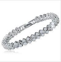 2014 new Free Shipping Silver jewelry accessories silver platier Women bracelet rhinestone crystal bracelet