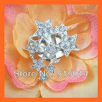 Free Shipping ! 100pcs/lot 35*23mm Small Star Wedding Invitation Embellishment ,Rhinestone Brooch With Flatback ,Flower Brooches