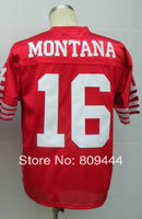 Free Shipping,Wholesale & Retail #16 Joe Montana Throwback Football Jersey,Stitched Logos,Size M--3XL,Can Mix Order