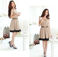 Free Shipping! New Korean Fashion Ladies Women's Girls Short Butterfly Sleeve O-Neck Solid Cute Chiffon 2 Colors Dress