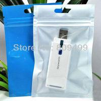 "100pcs  7x10cm=2.5x4"" Self Sealing Zip Lock Plastic Bags Packaging Bags blue+Transparent  free shipping D078a-100"