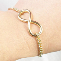 2013 new trendy gold 8 design infinity shape sideways charm chain bracelet for men Free Shipping