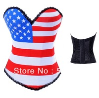 Free Shipping Sexy High Quality Rock Hook American Flag Corsets