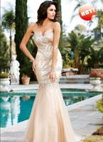 Wholesale - Custom Made ! Exquisite Sweetheart Mermaid Floor Length Beads Organza Prom Dresses