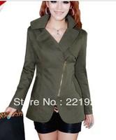 Spring Slim large size women's short coat casual jacket - ginger / army green / khaki / orange 4 yards Optional