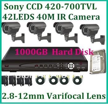 CCTV Kit 4CH with 1TB hard dirive Sony Effio-E 700TVL to 420TVL 40m night vision outdoor camera system