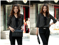 HOT  Fashion Sexy Women's 3/4 Sleeve Polka Dot Print Top Shirt Blouse Chiffon 3754