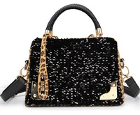 Fashion high quality gold leopard print paillette tassel pendant bags handbag women's