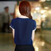 annetrade 4210 fashion sweet chiffon shirt fresh crochet turn-down collar sweep bestbao female brief  promotion