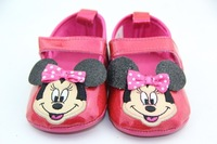 Free shipping! New 6pairs/lot Wholesale Red leather girl shoes minnie mouse ribbon Baby shoes kids mikey shoes air 6pairs/lot.