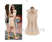 2013 New Fashion Summer Style Sleeveless Turn-down Collar Chiffon Solid  Straight Casual Dress Wholesale Free shipping YL552