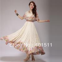 SD601-3 2013 Summer Fashion Long printed dress Bohemian Chiffon Maxi Dress big collar  super hem full linning ,drop shipping sup