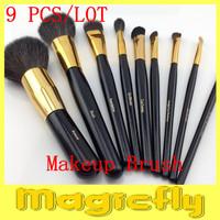 [HSZL-024] 9 Pieces High Quality Kolinsky Hair Portable Cosmetic Facial Makeup Brush Kit + Free Shipping