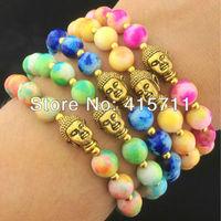 8mm Colorful Jade beads Antique Gold Metal Yoga Mala Buddha Bracelet (5 pieces/lot) YH-13070104