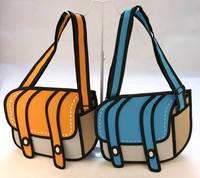 3D Jump Style 2D Drawing From Cartoon Paper Bag Comic 3D Messenger Bag