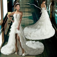 2013 new arrival sweet tube top big low-high train flower wedding dress