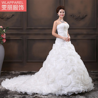 2013 wedding formal dress luxury long trailing flower strap tube top sweet princess wedding dress