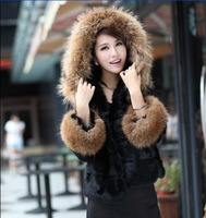 2013 Winter Rabbit Fur Jacket With Luxury Large Raccoon Fur Collar Coat Plus Size Free Shipping
