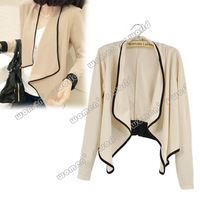 New drop shipping Women's Ladies Long Sleeve shoulder pad All-Match Loose Short Jacket Coat Black/ Apricot 7983