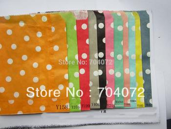 "100pcs   5""X7"" (13cmX 17.5cm) Ploka Dot Paper Gift Bag, Sweet Candy Paper Bag for Wedding and Parties"