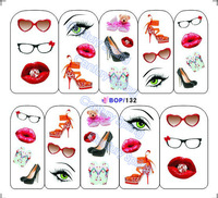 20sheets/lot Nail Art Sticker Water Transfer Decals BOP Glasses (131-140)
