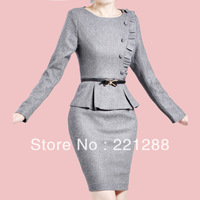 dress autumn 2013 european style brand leave two long sleeve wool knee length pencil dress stylish career dress