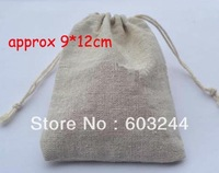 Free Hong Kong Post 100 Pieces Retro 9*12cm Linen Bag Sack Jewelry Bags Wedding Party Candy Beads Christmas Gift Bag