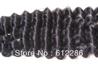"Free Shipping 8""-32"" 100g #1B Color Human Hair Extensions Weave Remy Eurasian Deep Wavy"
