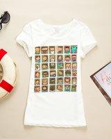 N1 Free Shipping 100% Cotton Women Short Sleeve Cartoon Printed T-shirt Tops Wholesale& Retail
