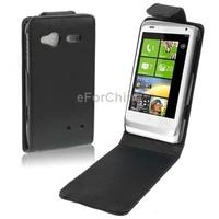 Black Flip Leather Case for HTC C110e Radar