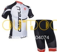 Free Shipping 2013 NEW! CASTELLI WHITE short sleeve cycling jerseys wear clothes bicycle/bike/riding jerseys+pants shorts