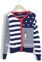 Free\Drop Shipping 2013 New Fashion high quality Autumn Stripe Polka Dot Knitted Sweater women Outerwear Casaul Cardigan 3408