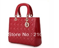 NO DI*R LOGO Diana princess patent leather handbag, Big women bag, High quality cross-body ladies handbag