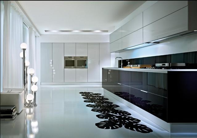 Amerikaanse Keuken Kopen : Black and White High Gloss Kitchen Cabinets