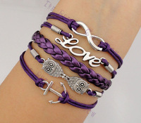 3pcs Infinity, Love, Owls and Anchor Charm Bracelet in Silver - Dark Purple Cord - Friendship Gift -  1168- Mini order 10$