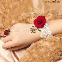 Princess sweet Lolita bracelet Royal red rose white lace red flower rring metal bow vintage bracelet with rring set