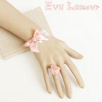 Princess Lolita White lace bracelet rring set gentlewoman accessories wedding bridal jewelry pink rose rring