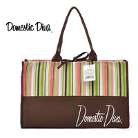 Women's Casual Striped Canvas Shoulder Bag / large Size Tote Bag / Shopping Bag Free Shipping