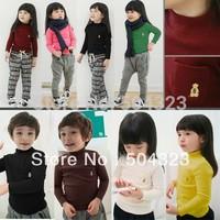 Free Shipping 5pcs/lot Kids girls boys KOREA warm T shirts kids clothes fashion T shirt spring long sleeve clothing wholesale