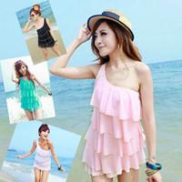 The new 2013 Hot spring swimwear one shoulder one-piece dress none bikini dress plus size female swimsuit  Free Shipping