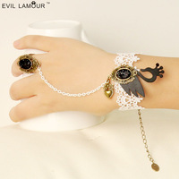 Princess sweet Lolita bracelet Black swan princess white lace bracelet with rring one piece chain vintage heart drop pendant